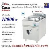Marmita Industrial a Gás de Aquecimento Indirecto de 85 Litros da Linha 700 (transporte incluído) - Refª 100337