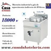 Marmita Industrial a Gás de Aquecimento Indirecto de 85 Litros da Linha 900 (transporte incluído) - Refª 100338