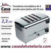 Torradeira Profissional Monofásica de 4 Secções para Fatias até 25 mm de Espessura, Potência de 2300 Watt (transporte incluído) - Refª 100769
