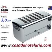 Torradeira Profissional Monofásica de 6 Secções para Fatias até 25 mm de Espessura, Potência de 3300 Watt (transporte incluído) - Refª 100770