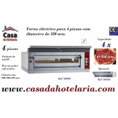 Forno de Pizzas Eléctrico para 4 Pizzas Ø 350 mm (transporte incluído) - Refª 100953