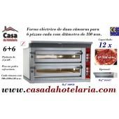 Forno de Pizzas Eléctrico para 2x 6 Pizzas Ø 350 mm (transporte incluído) - Refª 100956