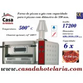 Forno de Pizzas a Gás 6 pizzas Ø 330 mm, Potência de 17200 K-cal/h (transporte incluído) - Refª 100975