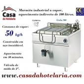 Marmita Industrial de Aquecimento a Vapor com Caldeira de 100 Litros da Linha 900 (transporte incluído) - Refª 100999