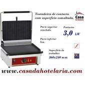 Grelhador de Contacto / Tostadeira Esmaltada Parte Superior Canelada e Inferior Lisa, 3 kW (transporte incluído) - Refª 101010