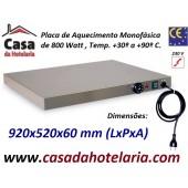 Placa de Aquecimento Monofásica, 920x520x60 mm LxPxA, 800 Watt, +30º +90º C (transporte incluído) - Refª 101031