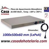Placa de Aquecimento Monofásica, 1000x500x60 mm LxPxA, 800 Watt, +30º +90º C (transporte incluído) - Refª 101032