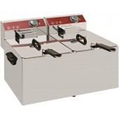 Fritadeira Industrial Elétrica Dupla de Bancada Monofásica para 7+7 Litros com Tampa, 0° +190°C, 6400 Watts (transporte incluído) - Refª 101117