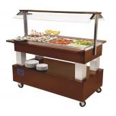 Carro Buffet Refrigerado Bar Saladas 4x GN 1/1, 150 mm de Profundidade em Madeira de Mogno, +2º +10º C (transporte incluído) - Refª 101195