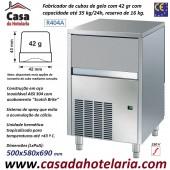Fabricador de Cubos de Gelo com 42 gr, 35 kg/24h, Reserva 16 kg. Condensação a Ar, Monofásico (transporte incluído) - Refª 101279