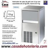 Fabricador de Cubos de Gelo com 13 gr, 22 kg/24h, Reserva 4 kg. Condensação a Ar, Monofásico (transporte incluído) - Refª 101281