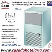 Fabricador de Cubos Gelo com 13 gr, 22 kg/24h (ABS), Reserva 4 kg. Condensação a Ar, Monofásico (transporte incluído) - Refª 101282