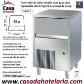 Fabricador de Cubos de Gelo com 42 gr, 47 kg/24h, Reserva 25 kg. Condensação a Ar, Monofásico (transporte incluído) - Refª 101283