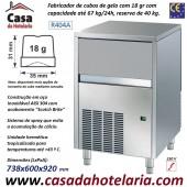 Fabricador de Cubos de Gelo com 18 gr, 67 kg/24h, Reserva 40 kg. Condensação a Ar, Monofásico (transporte incluído) - Refª 101284