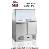 """""""Saladette"""" Refrigerada e Ventilada de 240 Litros com Topo de Vidro, dimensões de 900x700x870/1350 mm (LxPxA) (transporte incluído) - Refª 101327"""