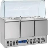 """""""Saladette"""" Refrigerada e Ventilada de 380 Litros com Topo de Vidro, Dimensões de 1365x700x870/1350 mm (LxPxA) (transporte incluído). - Refª 101328"""