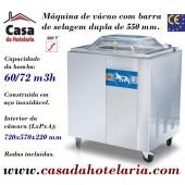Máquina de Vácuo Profissional com Barra de Selagem Dupla de 550 mm e Bomba de 60 / 72 m3/h (transporte incluído) - Refª 101370