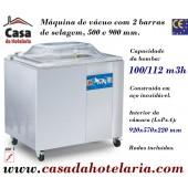 Máquina de Vácuo Profissional com 2 Barras de Selagem de 500 e 900 mm e Bomba de 100 / 120 m3/h (transporte incluído) - Refª 101371