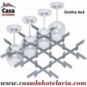Grelha Divisória 4x4 para 16 Copos de Ø 110 mm (versão para cesto 500x500) - Refª 101396