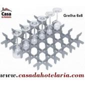 Grelha Divisória 6x6 para 36 Copos de Ø 73 mm (versão para cesto 500x500) - Refª 101398