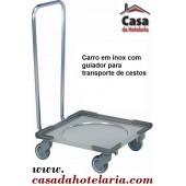 Carro para Transporte de Cestos com Guiador e Base em Inox (transporte incluído) - Refª 101417