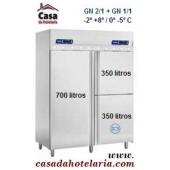 Armário Refrigerado Ventilado de 1400 Lts em Inox (3 portas, 1 para conservação de pescado, transporte incluído) - Refº 101424