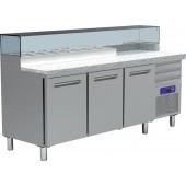 Mesa de Preparação de Pizzas com 3 portas 600x400 mm, 480 Lts, 0º +8º C com Estrutura 8x GN 1/4 150 mm +4º +10º C (transporte incluído) - Refª 101449