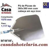 Pá de Pizzas com Cabeça em Aço Inox de 360x360 mm e Comprimento de 1570 mm - Refª 101463
