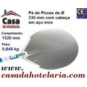 Pá de Pizzas com Cabeça em Aço Inoxidável de Ø 330 mm e Cabo Anodizado de 1200 mm, Comprimento Total de 1520 mm - Refª 101467