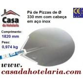 Pá de Pizzas com Cabeça em Aço Inoxidável de Ø 330 mm e Cabo Anodizado de 1500 mm, Comprimento Total de 1820 mm - Refª 101468