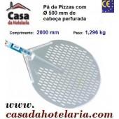 Pá de Pizzas com Ø 500 mm de Cabeça Perfurada e Comprimento de 2000 mm - Refª 101490