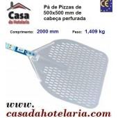 Pá de Pizzas com Cabeça Perfurada de 500x500 mm e Comprimento de 2000 mm - Refª 101507