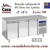 Bancada Refrigerada de 405 Litros com 3 Portas GN 1/1 da Linha 700 (transporte incluído) - Refª 101520