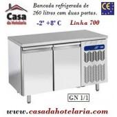 Bancada Refrigerada de 260 Litros com 2 Portas GN 1/1 da Linha 700 (transporte incluído) - Refª 101522