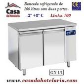 Bancada Refrigerada de 260 Litros com 2 Portas GN 1/1 da Linha 700 (Grupo à distância) (transporte incluído) - Refª 101532