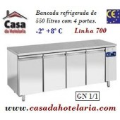 Bancada Refrigerada de 550 Litros com 4 Portas GN 1/1 da Linha 700 (Grupo à distância) (transporte incluído) - Refª 101534
