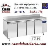 Bancada Refrigerada de 550 Litros com Alçado e 4 Portas GN 1/1 da Linha 700 (Grupo à distância) (transporte incluído) - Refª 101537