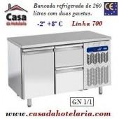 Bancada Refrigerada de 260 Litros com 1 Porta + 2 Gavetas GN 1/1 da Linha 700 (transporte incluído) - Refª 101538