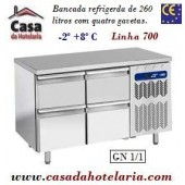 Bancada Refrigerada de 260 Litros com 4 Gavetas GN 1/1 da Linha 700 (transporte incluído) - Refª 101539