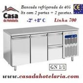 Bancada Refrigerada de 405 Litros com 2 Portas + 2 Gavetas GN 1/1 da Linha 700 (transporte incluído) - Refª 101540