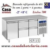 Bancada Refrigerada de 405 Litros com 1 Porta + 4 Gavetas GN 1/1 da Linha 700 (transporte incluído) - Refª 101541