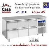 Bancada Refrigerada de 405 Litros com 6 Gavetas GN 1/1 da Linha 700 (transporte incluído) - Refª 101542