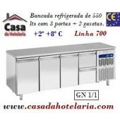 Bancada Refrigerada de 550 Litros com 3 Portas + 2 Gavetas GN 1/1 da Linha 700 (transporte incluído) - Refª 101543