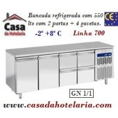 Bancada Refrigerada de 550 Litros com 2 Portas + 4 Gavetas GN 1/1 da Linha 700 (transporte incluído) - Refª 101544