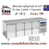 Bancada Refrigerada de 550 Litros com 1 Porta + 6 Gavetas GN 1/1 da Linha 700 (transporte incluído) - Refª 101545