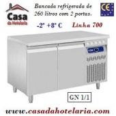 Bancada Refrigerada de 260 Litros Tempª -2° +8° C com 2 Portas GN 1/1 da Linha 700 (transporte incluído) - Refª 101547