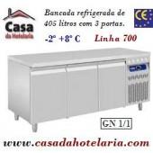 Bancada Refrigerada de 405 Litros com 3 Portas GN 1/1 da Linha 700 (transporte incluído) - Refª 101549