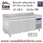 Bancada Refrigerada de 405 Litros com Alçado de 3 Portas GN 1/1 da Linha 700 (transporte incluído) - Refª 101550