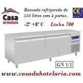 Bancada Refrigerada de 550 Litros com 4 Portas GN 1/1 da Linha 700 (transporte incluído) - Refª 101551