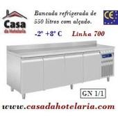 Bancada Refrigerada de 550 Litros com Alçado de 4 Portas GN 1/1 da Linha 700 (transporte incluído) - Refª 101552